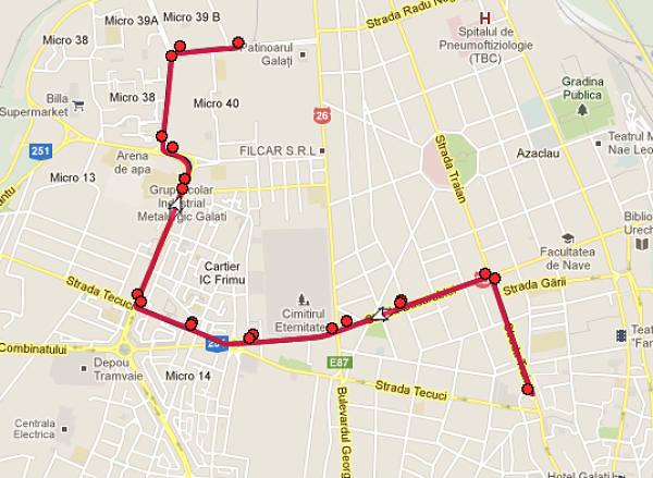 Traseul 44 – Staţii şi program – Transurb Galaţi