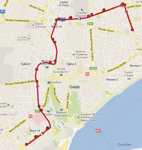 Traseul 7 - Staţii şi program - Transurb Galaţi