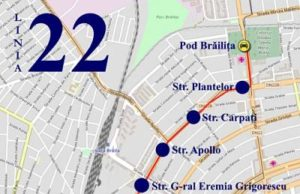 Traseul 22 Pod Brăiliţa - Catedrală – Staţii şi program – Braicar Brăila