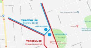 Transurb: Traseul 28 deviat din cauza unei surpări lângă Spitalul Militar