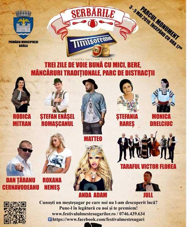 Serbările Timișoreana - trei zile de bunătăți, distracție și concerte la Brăila