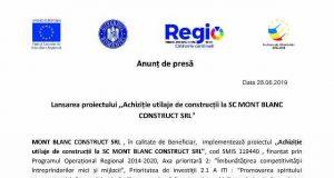 """Lansarea proiectului ,,Achiziție utilaje de construcții la SC MONT BLANC CONSTRUCT SRL"""""""