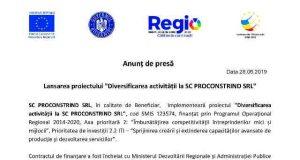 """Lansarea proiectului """"Diversificarea activității la SC PROCONSTRIND SRL"""""""