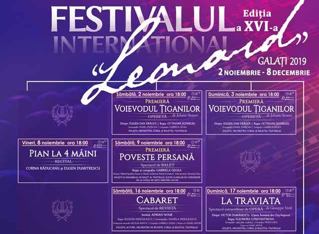 """Festivalul Internațional """"Leonard"""", ediția a XVI-a, își deschide porțile pe 2 noiembrie"""