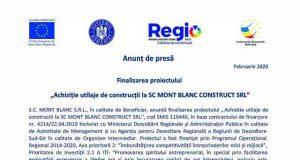 Achiziție utilaje de construcții la SC MONT BLANC CONSTRUCT SRL