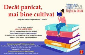"""Campanie de promovare a lecturii pe facebook-ul Bibliotecii """"V.A. Urechia"""""""