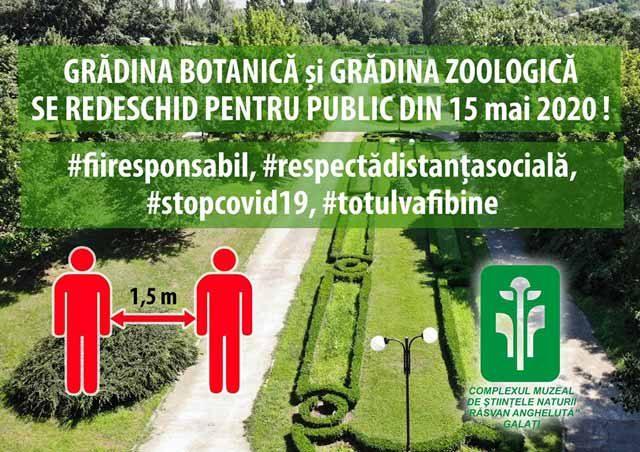 Grădina Botanică Galați și Grădina Zoologică se redeschid de pe 15 mai